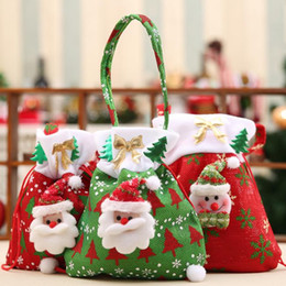 bulk christmas gifts Canada - Canvas Christmas Gift Candy Bags Christmas Bags Drawstring Favor Gift Package Bulk Set Of Multi-Style Neon Colored Goodie