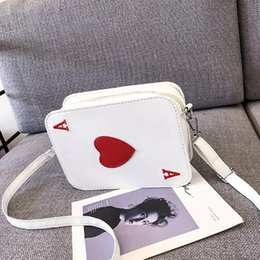 Funny shoulder bags online shopping - Korean Version Of The New Creative Funny Messenger Bag Heart Packing Cubes Shoulder Bag Playing Cards Shape Funny Gift