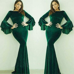 Women formal sleeve dresses online shopping - Dark Green Velvet Long Sleeves Prom Dresses Mermaid Arabic Dubai Women Jewel Neck Formal Evening Dress Party Robe De Soiree