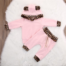 $enCountryForm.capitalKeyWord Australia - Newest Designs Infant Baby Girls Leopard Hoodies Suits Cat Ears Hat Hooded Patchwork Tops With Stripes Elastic Pants 2pieces Kids Clothing