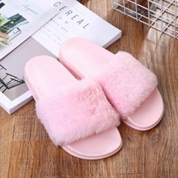 Faux Fur Booties Women Australia - Autumn Flat Plush Slippers Women Shoes Home Indoor Slippers Fluffy Faux Fur Slides Ladies Non-slip Mules Pink Gray Black Zapatos