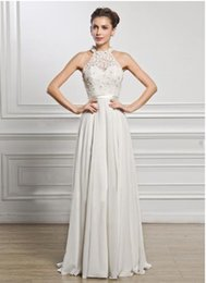 Ankle Length High Neck Wedding Dresses UK - Sexy perspective European and American explosions autumn chiffon high-end evening dress hanging neck sleeveless wedding dress