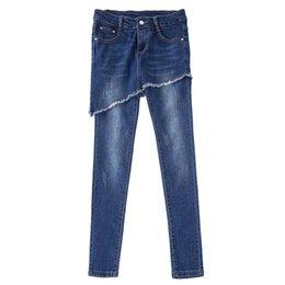 $enCountryForm.capitalKeyWord Australia - Ripped Pantskirts Women 2019 Spring Summer Fashion Blue Casual High Waist Pocket Irregular Denim Jeans Plus Size