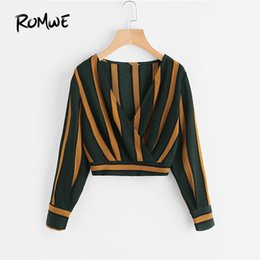blouses necklines Australia - Romwe Yellow Stripe Crop Tops Wrap V Neckline Ruched Blouse Fall 2019 Fashion Women Elegant Button Long Sleeve Sexy Blouse SH190628