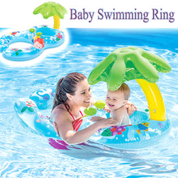 Baby Swimming Ring Seat Australia - Inflatable Baby Swimming Ring Sunshade Tube Raft Pool Float Toys Safety Seat With Mother Boia Piscina Water Bed Mattress Circle