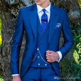$enCountryForm.capitalKeyWord Australia - Royal Blue Wedding Tailcoat for Groom Men Suits 2019 Three Piece Peaked Lapel Custom Made Jacket Pants Double Breasted Waistcoat