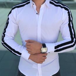Vente en gros Nouveaux Hommes De Mode De Luxe Élégant Slim Fit À Manches Longues Robe Chemises Hommes D'affaires Formelle Robe Chemises Tops Pour Hommes # 389170