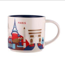 Chinese  14oz Capacity Ceramic Starbucks City Mug France Cities Best Coffee Mug Cup with Original Box Paris City manufacturers