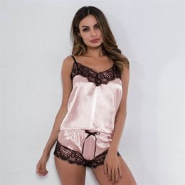 Wholesale silk pajama tops resale online - Women Sexy lingerie Satin Lingerie pijamas mujer women Silk Pajama Sets Lace Vest Sleeveless Top Short Sleepwear