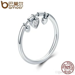 glittering rings Australia - BAMOER New Arrival 925 Sterling Silver Glittering Heart Clear CZ Anel Female Ring Women Wedding Engagement Jewelry SCR215