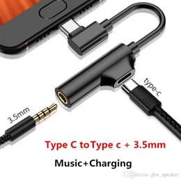 Music Audio Converter Australia - 3.5mm+Type-C Audio Expansion Adapter Music Charging Converter Cable For Samsung S9 Huawei P20 Xiaomi Earphone Divider Splitter