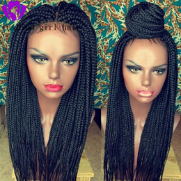 synthetics 16 inch wigs hair Australia - 28 inches 13X4 Lace Parting Hand Braided Synthetic Lace Front Wigs for Women Long Braided Box Braids Hair Synthetic Wig