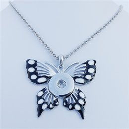 Wholesale Black White Enamel Butterfly Metal Ginger mm Snap Buttons Socket Long Chain Necklace Noosa Chunks Jewelry