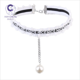 $enCountryForm.capitalKeyWord NZ - HanCheng New Fashion Nice Letter Hairball Knit Belt Link Pearl Pendant Choker Necklace Women Necklaces collar jewelry bijoux
