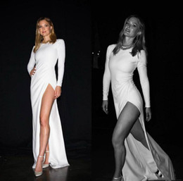 $enCountryForm.capitalKeyWord Australia - Sexy Thigh High Slits Sheath Wedding Dresses With Jewel Neck Floor Length Custom made Plus Size Wedding Bridal Gown