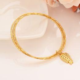 $enCountryForm.capitalKeyWord Australia - Wholesale Dubai Gold bangles 22 k Solid Fine Gold Finish Ethiopian 3 round leaf bangle bracelet African Women jewelry Charm