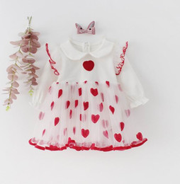 love boat clothing Canada - Baby Girl Love Heart Dress Gauze Long Sleeve Dress Romper for Baby Girl Clothes 0-2Y E91018