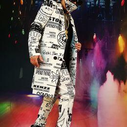 Long Jacket Costume Australia - Custom Made Suits Sets Men Fashion Graffiti Casual Hip Hop Long Blazers Jacket Male Party Stage Singer Dj Costume J190420