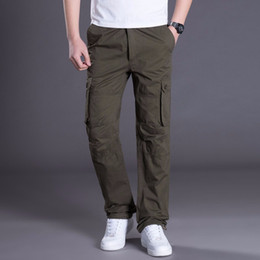 mens cotton cargo pants Canada - Tactical Casual Loose Pants Men Cargo Pants Combat SWAT Active Army Hiking Pant Male Cotton Work Trousers Mens Joggers 3XL