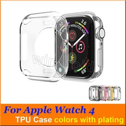 iwatch cover NZ - Ultra Thin Slim Transparent Crystal Clear Soft TPU Rubber Flexible plating Protective Cover Case For Apple Watch iWatch Series 3 4 40 44mm