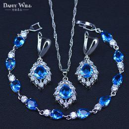 $enCountryForm.capitalKeyWord NZ - Best Wish Bridal Jewelry For Women 925 Sterling Silver Sky Blue Crystal Costume Jewelry Sets Bracelets Pendants Drop Earrings