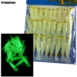 Lures Shrimps Australia - Glow Shrimps Soft Lure Baits 27 Pcs, 1.7in Grub Worms Small Freshwater Lighting Glow In Dark Shrimps Soft Lures