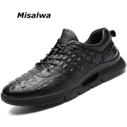 fashionable male shoes 2019 - Misalwa British Fashionable Crocodile Pattern Male Sneakers Lace-up Mens Luxury Designer Shoes Genuine Leather Casual Lo