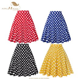 19d0a29530 Sishion Women Skirt Blue Red Black White Polka Dot High Waist Vintage  Skater Faldas Mujer Plus Size School Short Skirt Vd0020 J190620
