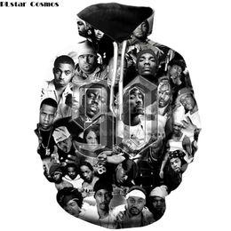 Ingrosso PLstar Cosmos 2019 New Fashion 2pac Tupac con cappuccio da uomo rapper anni '90 Collage di personaggi Stampa 3d Felpa con cappuccio Unisex Hip Hop Felpa con cappuccio