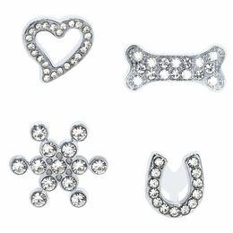 8mm sliding charms online shopping - 20pcs mm crystal bone heart U Slide DIY Charm for mm wristband belts bracelet