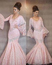 $enCountryForm.capitalKeyWord Australia - 2019 New Pink Lace Prom Dresses Vintage Sheer Tassels Dubai Mermaid Sweep Train Luxury V Neck Party Evening Gowns Formal Dresses Plus Size