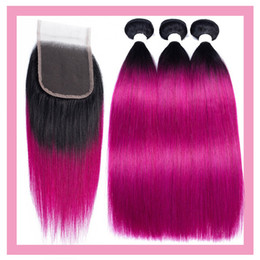 Raw Hair Dye Colors Australia - Indian Raw Virgin Human Hair Straight 1B Purple 3 Bundles With 4X4 Lace Closure 4 Pieces lot Bundles With Closure Middle Three Free Part