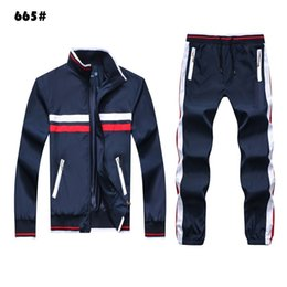 cheap cotton suits UK - Autumn Men's Full Zip Tracksuit Men sport suit white cheap men sweatshirt and pant suit hoodie and pant set sweatsuit men