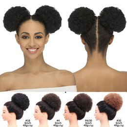 $enCountryForm.capitalKeyWord Australia - Afro Bun Puff Ponytail With Drawstring Wrap Messy Clip in Extension For Black Women Afro Kinky Curly Synthetic Hair Cap Net 6inch 8inch