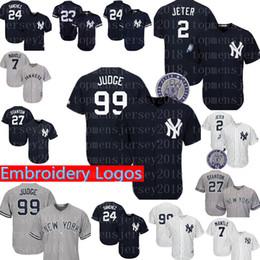 f46397eee New York Yankees Jersey  99 Aaron Judge 2  27 Giancarlo Stanton 24 Gary  Sanchez 51 Bernie Williams 3 Babe Ruth 7 Mantle Jerseys