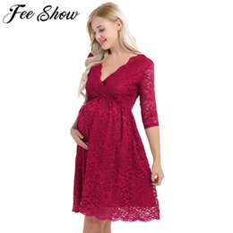 Wholesale Womens Maternity Elegant Floral Lace Overlay V Neck Half Sleeve Knee Length Pregnant Photography Dress For Formal Evening Party Y190522