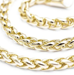 """14k Chains Australia - Mens 22"""" Inch 6mm Wheat Style Neck Chain Necklace 14k Realistic Gold Plated Gift"""