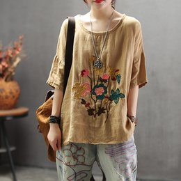 0ac5d934cd5c59 Johnature New Style Embroidery Linen Round Neck Women T-shirt 2019 Summer  Half Sleeves Plus Size Casual Loose Women t-shirt