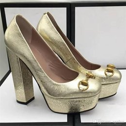 f90801471cc overseas2019 Lady Sexy Chunky Heel Silver Gold Wedding Leather Ladies  Classic Office Shoes With Chains