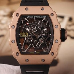 Discount sport watches red dials New Rose Gold Case 35-01 Skeleton Dial Japan Miyota Automatic Mens Watch Black Rubber Strap Sapphire Sport Watches 15 Color Hello_watch