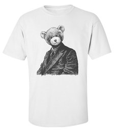 Wholesale Vintage Beautiful Toy Costume Bear Portrait Printed Cotton Men s T Shirt Top Tee Tees Shirt Men Camiseta Basquete Short Sleeve Crewneck Cott