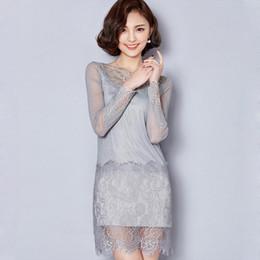 32f7bd8f3 Niza Nuevo Bordado de Alta Calidad Vestido de Encaje Negro Otoño Vestido de  Encaje de Moda Primavera Más Tamaño Manga Larga Vestido Coreano