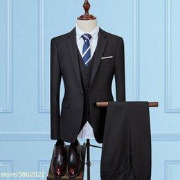 $enCountryForm.capitalKeyWord Australia - Custom made good quality solid men suits for wedding long sleeve men suits blazer with pant (jacket+vest+pant) 7XL 8XL 9XL 10XL