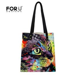 Fiber Dyed Australia - FORUDESIGNS Designer Bags For Women Nice Dye Animal Cat And Dog Printing Large Leather Handbags Shoulder Top-Handle Purse Wallet