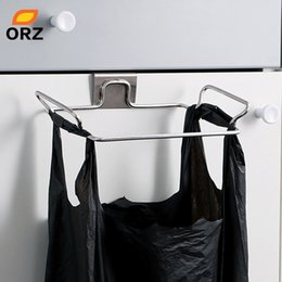Wholesale Orz Large Garbage Bags Holder Kitchen Wash Cloth Towel Storage Rack Stainless Steel Hanging Cupboard Cabinet Organizer Shelf SH190709