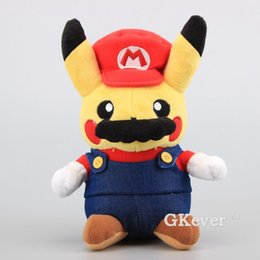 "$enCountryForm.capitalKeyWord Australia - Super Mario Pikachu Plush Toy Cute Pikachu Cosplay Mario Stuffed Soft Dolls 9"" 22 CM Kids Birthday Gift Y190530"