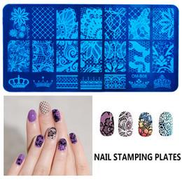 Cartoon Stamping Australia - Wholesale 20 Fashion design Nail Polish Templates Lace Flowers Animal Cartoon Bird nail image stamping Plates Nail art DIY Stamping