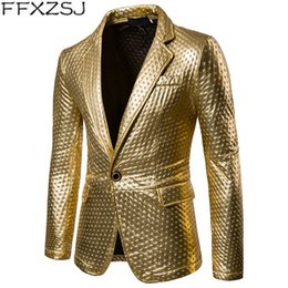 gold fashion men suit Australia - Suit Jackets Men Dot Embossing Gold Silver Black Casual Blazer Spring Brand Male Fashion Stage Perform Costumes For Singers Coat