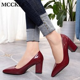 Elegant Pink Shoes NZ - Mcckle Women Summer Elegant Plus Size Pumps Ladies Pointed Toe Shallow Slip On High Heels Wedding Shoes Thick Heel Footwear