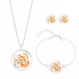 $enCountryForm.capitalKeyWord NZ - 2019 Glass cabochon jewelry set with silver plated pattern Fox choker pendant necklace and bracelet for women gift